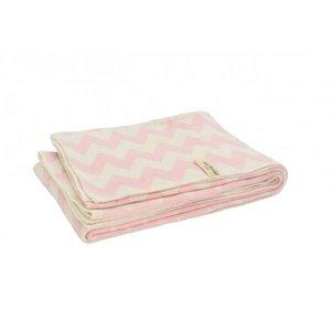Deken LN 100x150cm chevron pink/off-white