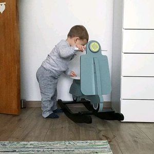 ChildHome Houten schommel scooter Mint/blauw/zwart