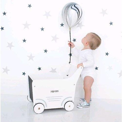 ChildHome Houten wandelwagen - poppenwagen wit