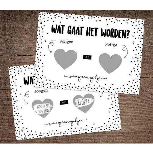 Hippe Kaartjes Kraskaart - Gender reveal - Girl - Verklap het geslacht van de baby
