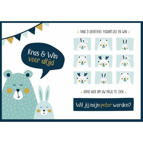 Minimou Kraskaart Peter Golden bear - Wil je mijn peter worden?