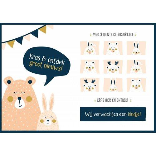 Minimou Kraskaart - Wij verwachten een kindje! - Golden bear