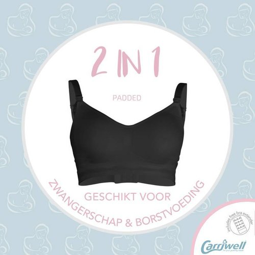 Carriwell Padded naadloze T-shirt voedings-beha Zwart