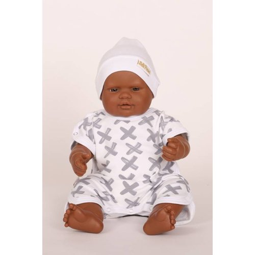 Belli premi Prematuur Salopet / babypakje maat 44/48 Kruisje grijs
