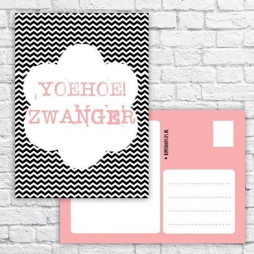 Hippe Kaartjes Ansichtkaart - Yoehoe! Zwanger!