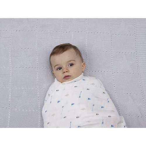Silly Billyz Cotton Swaddle Tee Pee blauw 120 x 120 cm
