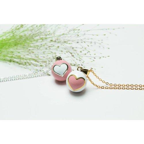 Babylonia Bola hart roze, met wit hart en gouden randje
