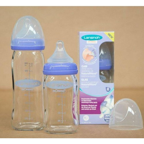 Lansinoh Natural wave fles GLAS mOmma - 160ml