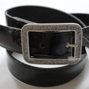 Kinderriem - Zwart Lak Leer + Glitter Gesp - Zilver