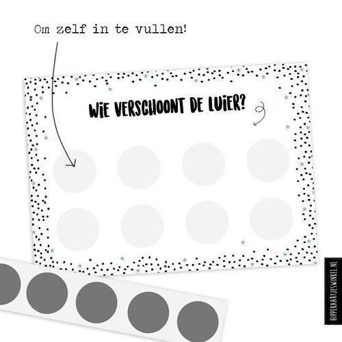 Hippe Kaartjes Kraskaart - DIY - Wie verschoont de luier?