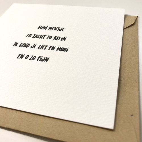 Hippe Kaartjes Kaart met enveloppe 'Mini mensje'