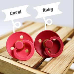 Bibs T2 Rond Speentje van natuurlijk rubber - Coral