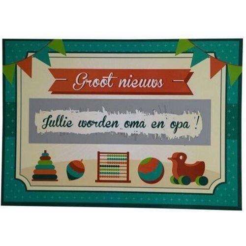 Minimou Kraskaart - Jullie worden Opa en Oma! - Retro