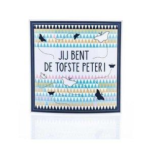 Minimou Wijnetiket - Jij bent de tofste Peter! Nordic Silhouette. Sticker