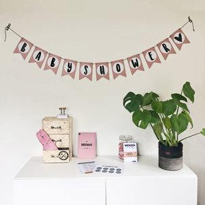 Hippe Kaartjes Baby shower slinger roze