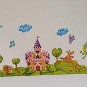 Muurstickerband Prinses en het kasteel voor kinderkamer