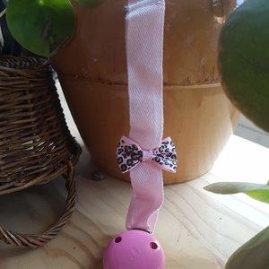 Speenkoord  met clip - Panter Pink
