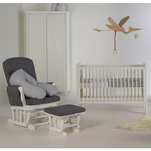 Quax Gliding chair houten schommelstoel met canvas bekleding