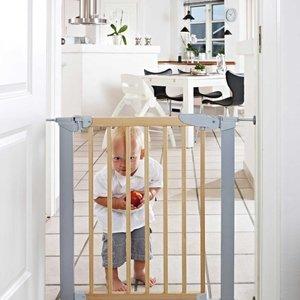 BabyDan Traphekje Avant garde Gate - klemhek grijs met hout