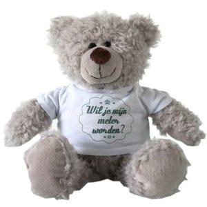 Minimou Witte beer met T-shirt - Juf/Meester, geniet van je vakantie