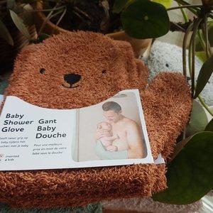 Invented4Kids Baby badhandschoen - Washand Extra grip - Brown bear