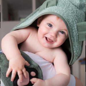 Invented4Kids Tuby Towel handige schouder-badcape - Koala (donker/lichtgroen)
