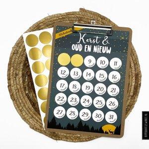 Hippe Kaartjes Aftelkalender KERST met, of zonder klembord