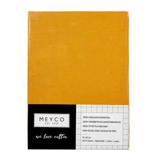 Meyco Hoeslaken box, parkmatras  basic jersey Okergeel