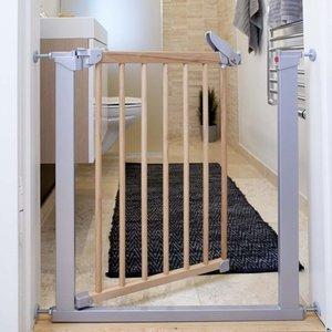BabyDan Traphekje Tora Gate / Avant Garde - klemhek grijs met hout