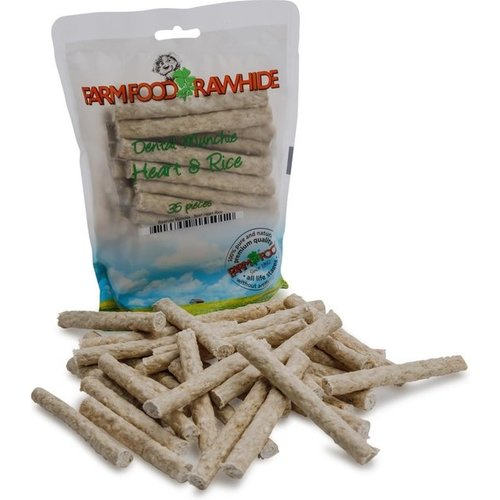 FarmFood Rawhide Dental Munchie Hart - Hondensnacks - Heart&Rice 10 cm 35x8 g Wit