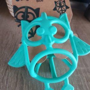 BoJungle B-Owl Silicone Blue - Bijtring uil groen