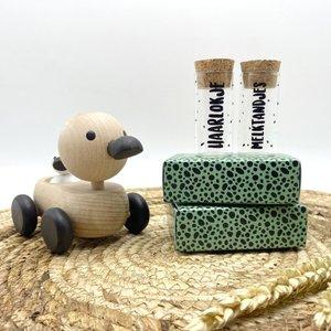 Hippe Kaartjes Haarlokje en melktandjes flesje in cadeauverpakking - groen
