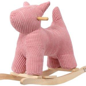 Label Label Ribfluwelen schommel /  Rocking Dog - Pink