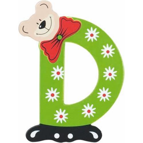 Playshoes De letter D - houten plakletter beer