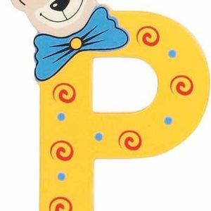 Playshoes De letter P - houten plakletter beer