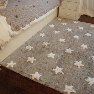 Lorena Canals Wasbaar Sterren vloerkleed katoen. Grey Stars White