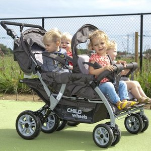 Childwheels Quadruple 2 Autobrake vierlingwagen - meerling kinderwagen