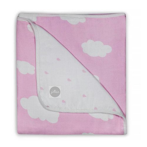 Jollein Deken hydrofiel 120x120cm Clouds pink