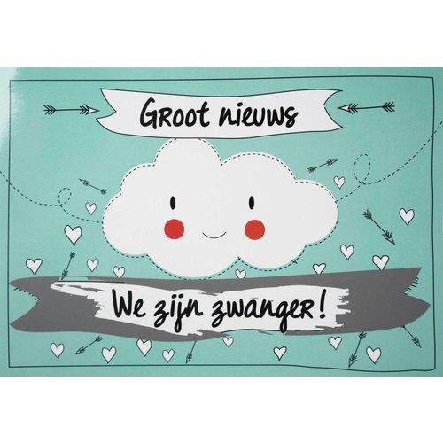 Minimou Kraskaart - We zijn Zwanger! Funny Clouds