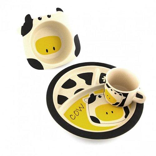 Pure Kids Bamboe Kinderservies Cow. 100% Biologisch afbreekbaar