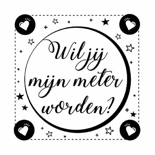 Minimou Wijnetiket Sticker - Wil je mijn meter worden? Black&White