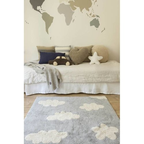 Lorena Canals Clouds Grey. 100% katoenen vloerkleed