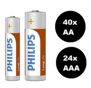 Philips longlife batterijen - 64-pack - 40 AA + 24 AAA