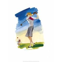 Vintage Golf Poster, Woman Golfer