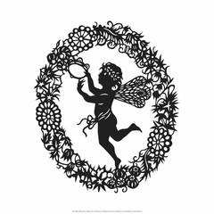 Silhouette of Fairy Angel in Flower Garland