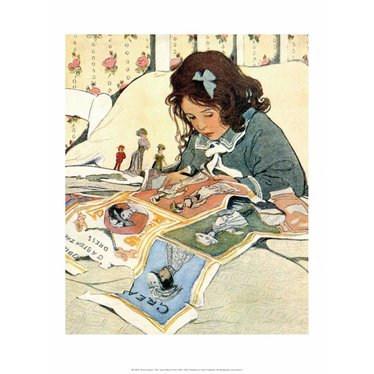 Girl Cutting out Paper Dolls