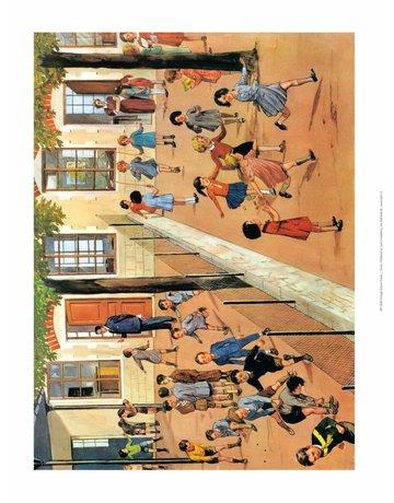 Vintage Classroom Poster -Girls & Boys Playground