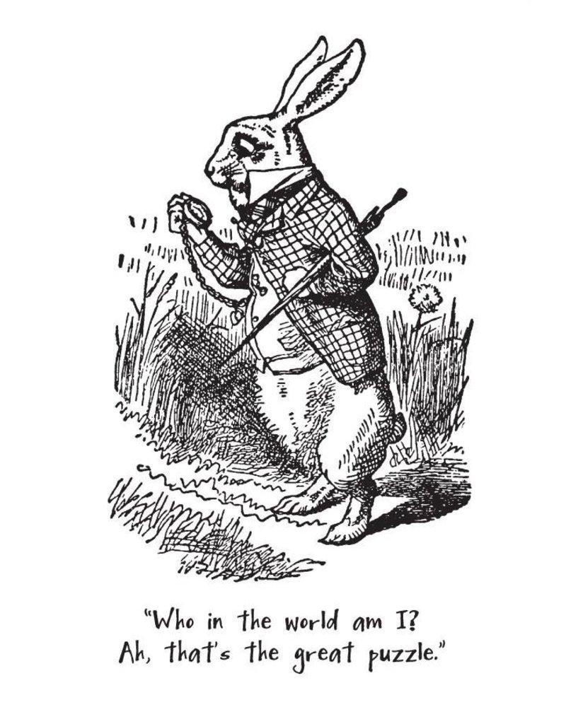 White Rabbit Alice in Wonderland with text Magnet