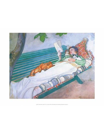 Catch Publishing Carl Larsson, Woman Reading on a Bench, with Cat & Dog
