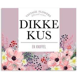 Vintage Flower Cards Dikke kus en knuffel
